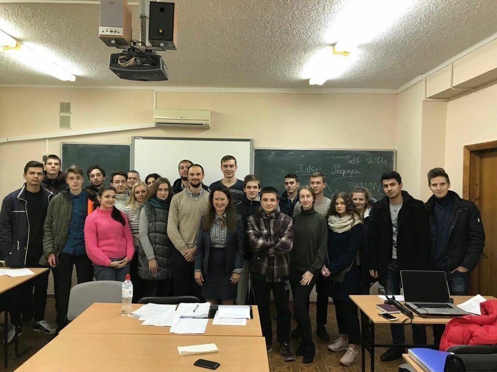 Mimi Coffey teaching in Ukraine